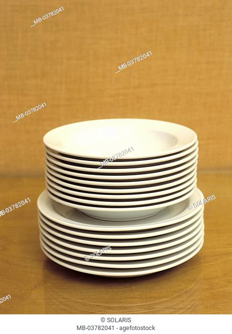 Plate stack   Dishes, porcelain, ceramics, plates, food plates, soup plates, deep, flat, set, stacked, one on top of the other-placed, concept, extended family