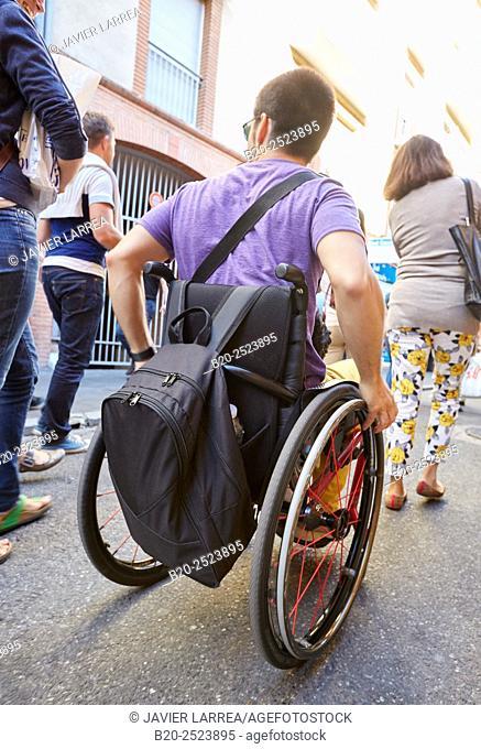 Handicapped wheelchair. Toulouse. Haute Garonne. France
