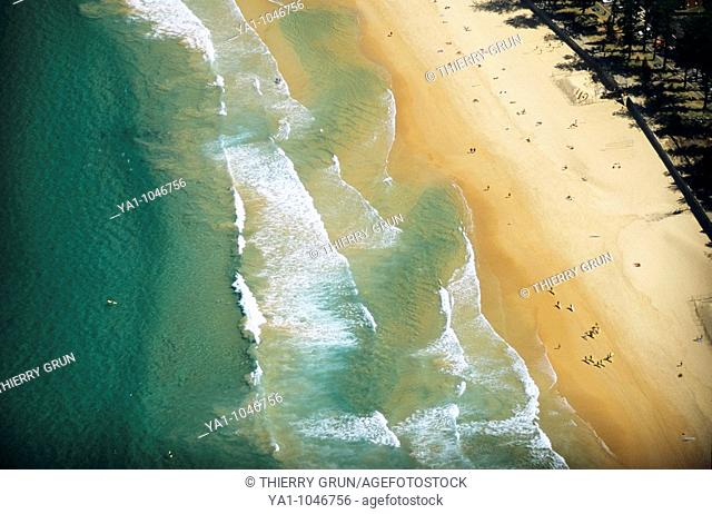 Aerial view of the famous beach close to Sydney town. Manly beach, New South Wales, Australia