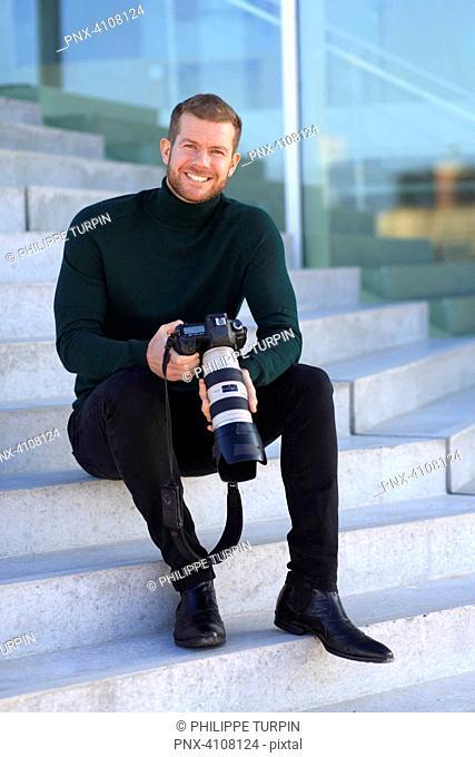 Professional photographer outside