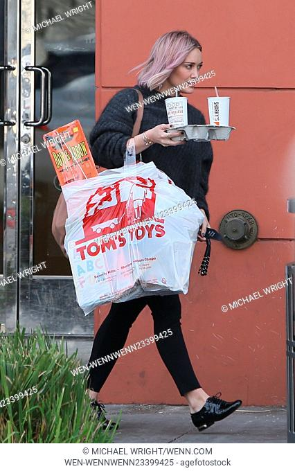 Hilary Duff out shopping at Tom's Toys and grabbing drinks from Sharky's in Beverly Hills Featuring: Hilary Duff Where: Los Angeles, California