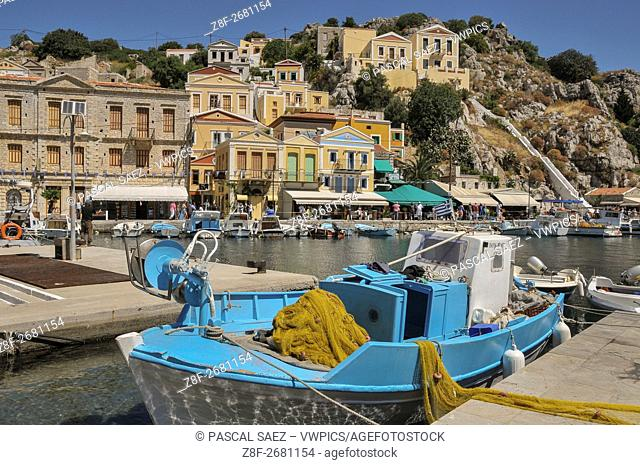 Partial view of Symi Town and its harbour, on the island of Symi, part of the Dodecanese island chain