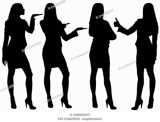 Business woman standing silhouette showing gestures. Isolated white background