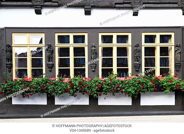 Close up of windows at a timbered house, Wernigerode, Saxony Anhalt, Germany, Europe