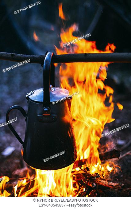 Old Retro Iron Camp Kettle Boils Water On A Fire In Forest. Bright Flame Fire Bonfire At Dusk Night