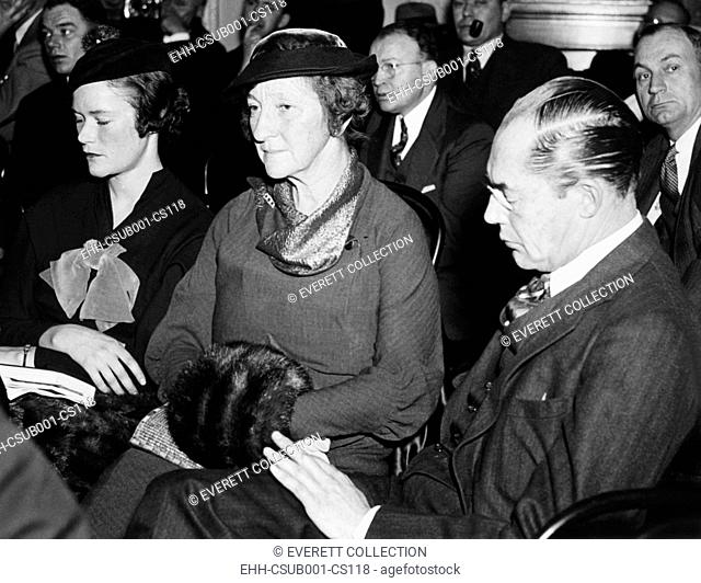 DuPont Ladies at Munitions probe. Right to left: Felix DuPont, Mrs. DuPont and their daughter Lydia, pictured as spectators before the Senate Munitions probe