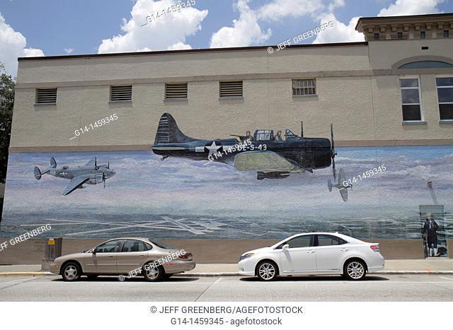 Mural, military aircraft, Woodland Boulevard, Deland, Florida, USA