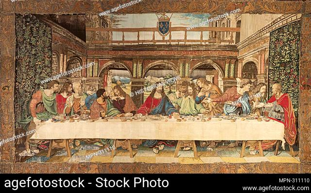 Tapestry of the Leonardo da Vinci's last supper. Vatican Museums, Room VIII. Rome. Italy, 16th Century. Its manufacture remains unclear
