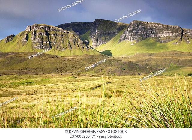 View from Quiraing to Dun Dubh Mountain, Trotternish, Isle of Skye, Scotland