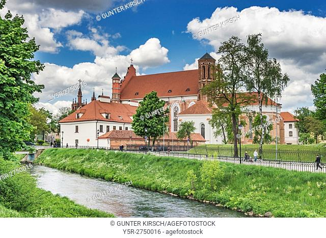 View over the river Vilnia to the Saint Bernard Church. The Saint Bernard Church is dedicated to St. Bernard of Siena. The Church is located in the old town of...
