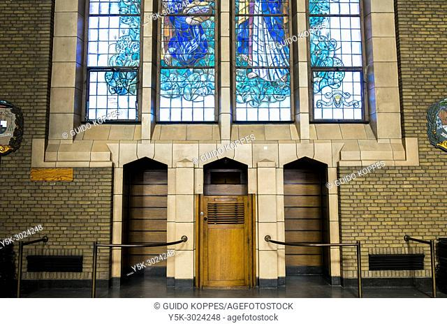 Brussels, Belgium. Interior and Confession Seat inside the Iconic, National Basilica, Cathedral and Landmark at Koekelberg
