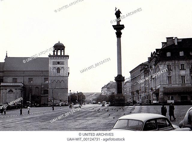 Blick südwärts vom Schloßplatz mit der Sigismundssäule in Warschau., Sammlung Wittmann