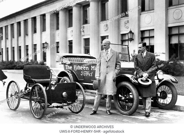 Detroit, Michigan: 1927.Henry Ford (left) and Edsel Ford with the original 1896 Quadricycle and the 15th millionth Ford Model T