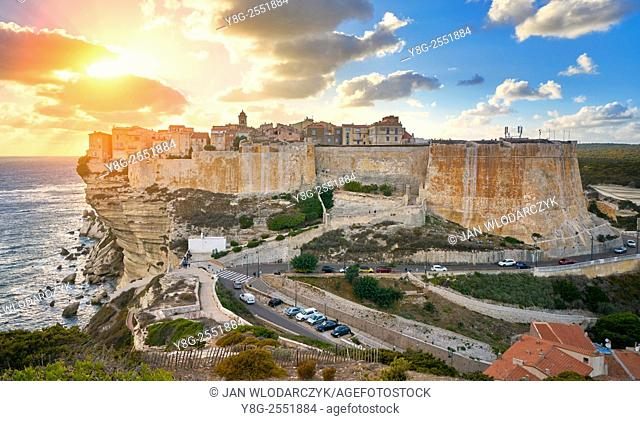 Sunset over the Old Town of Bonifacio, the limestone cliff, South Coast of Corsica Island, France