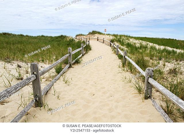 A path to the ocean in Brewster, Massachusetts, United States, North America