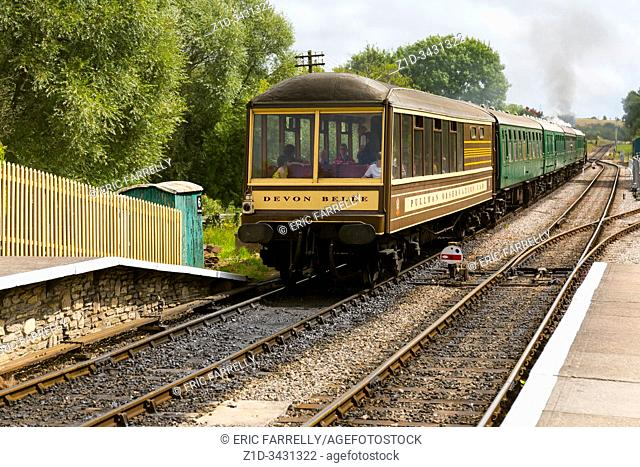 a rare Devon Belle Pullman observation car . Corfe railway station Dorset