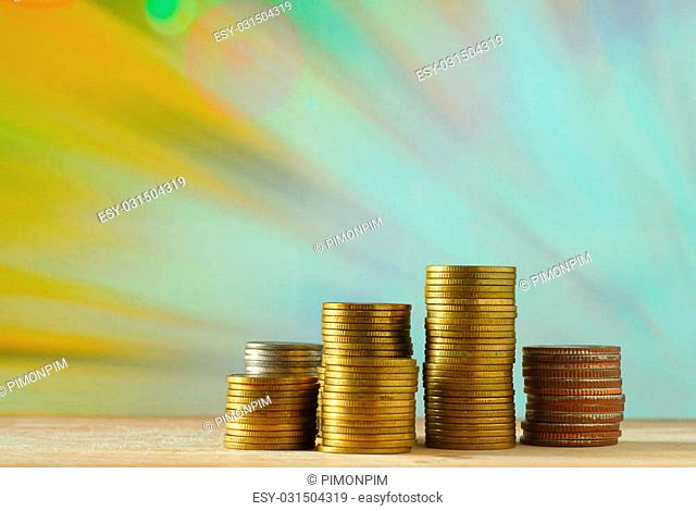 Coins. Currency. money concept. Saving money concept with retro vintage style