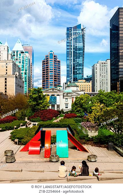 View of Robson Square in Vancouver, British Columbia, Canada