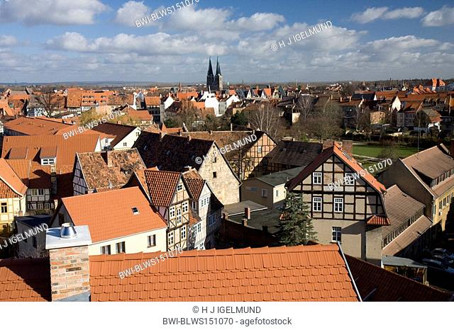 view from the castle over the old town, Germany, Saxony-Anhalt, Harz, Quedlinburg