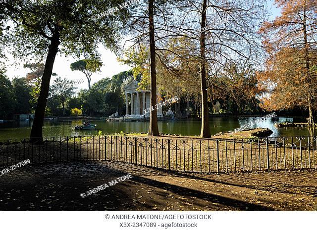 The Esculapio Temple. Artificial lake. Villa Borghese Park. Rome, Italy