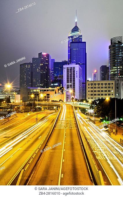 Night traffic at Causeway Bay, Central, Hong Kong Island, Hong Kong, China, East Asia