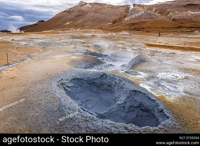 Boiling mud area also called Hverir or Hverarond near Reykjahlid town in the north of Iceland