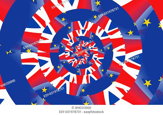 Flags of the United Kingdom and the European Union. Droste Effect
