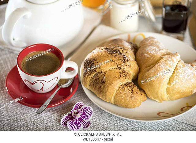 Food, breakfast, coffee, espresso, croissant, bed and breakfast