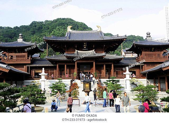 Tourists at Chi Lin Nunnery, Diamond Hill, Hong Kong