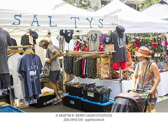 Community market day with stalls and retailers selling goods in Avalon beach on Sydney northern beaches,New South Wales,Australia