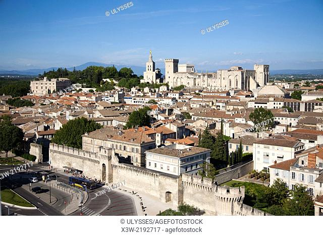 aerial view vith palace of the popes and cathedral, avignon, provence, france, europe