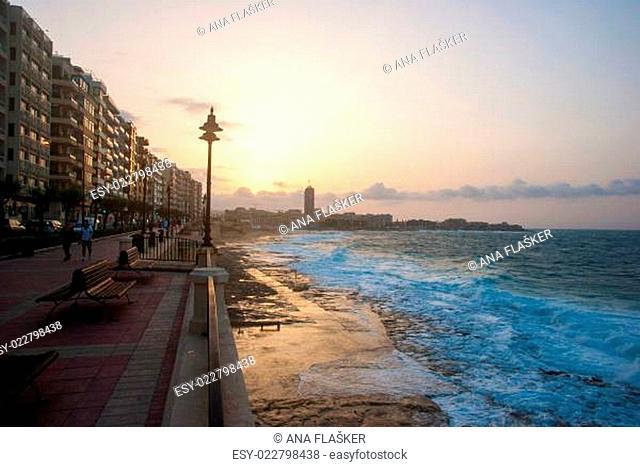 Promenade of Sliema in sunset, Malta