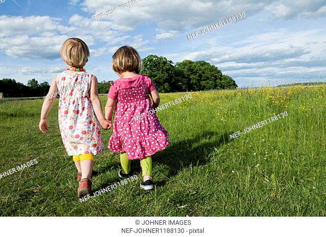 Rear view of two small girls walking on meadow