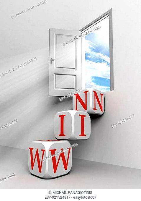 win conceptual door with sky