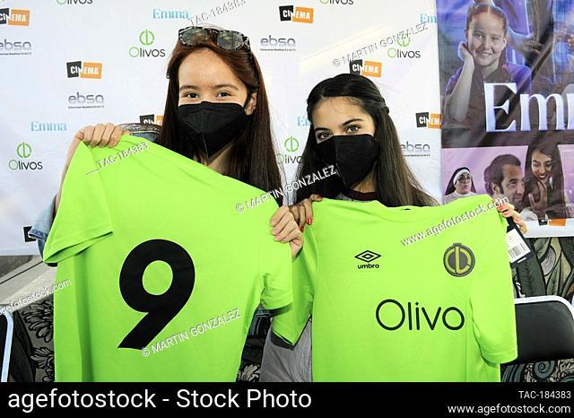 PUEBLA, MEXICO – DECEMBER 19: Cassandra Iturralde and Renata Chacon pose for photos during the press conference 'Emma en Los Olivos' at  Los Olivos Football...
