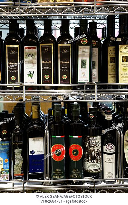 Luxury and high-end imported olive oil on a store shefl in New York's Little Italy at Di Palo's deli