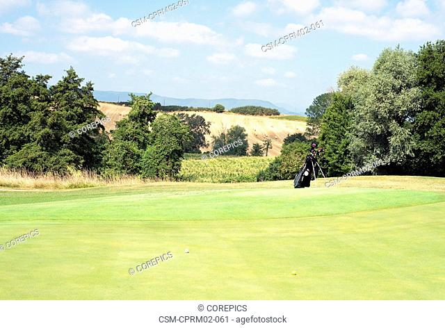 Two golf balls and a set of golf clubs on a lush green, situated in beautiful natural scenery