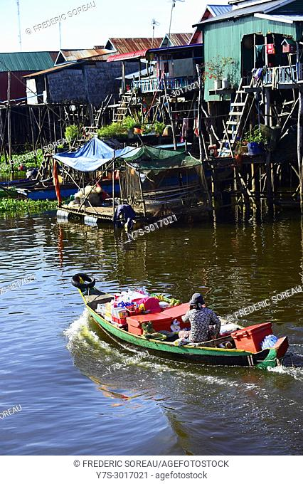 Kampong Phluk floating village, Tonle Sap Lake, Siem Reap Province, Cambodia, South East Asia, Asia