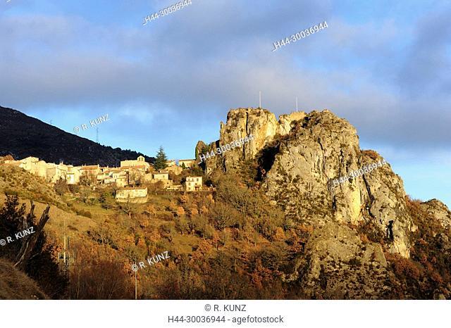Rougon, village, Grand Canyon du Verdon, gorge, autumn colours, Alpes-de-Haute Provence department, Provence, France