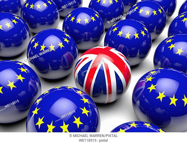 Close up of many balls with the European Flag and one ball with the United Kingdom's Union Flag - Concept image
