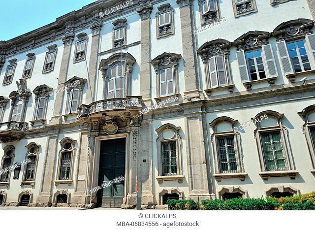 Palazzo Cusani Palace historic building in Brera district, Milan, via Brera 13, Italy