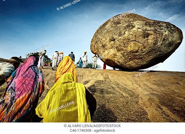 Krishna's butter ball dangerously balanced boulder, Mahabalipuram Mamallapuram, Tamil Nadu , India