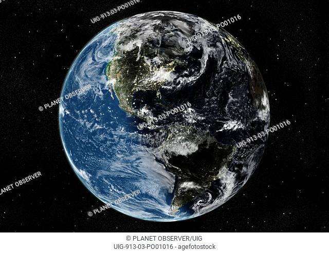 Globe Centred On The Americas, True Colour Satellite Image. True colour satellite image of the Earth centred on the Americas with cloud coverage