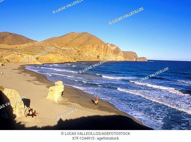 `El Peñon Blanco'beach  Near La Isleta del Moro  Cabo de Gata-Nijar Natural Park  Biosphere Reserve, Almeria province, Andalucia, Spain