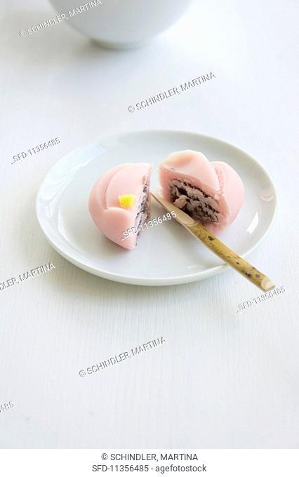 Wagashi plum (Japanese sweet)