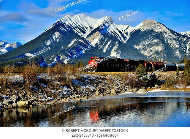 A Canadian National freight train passing a snow-capped rocky mountain on the main rail line through Jasper National Park in Alberta, Canada