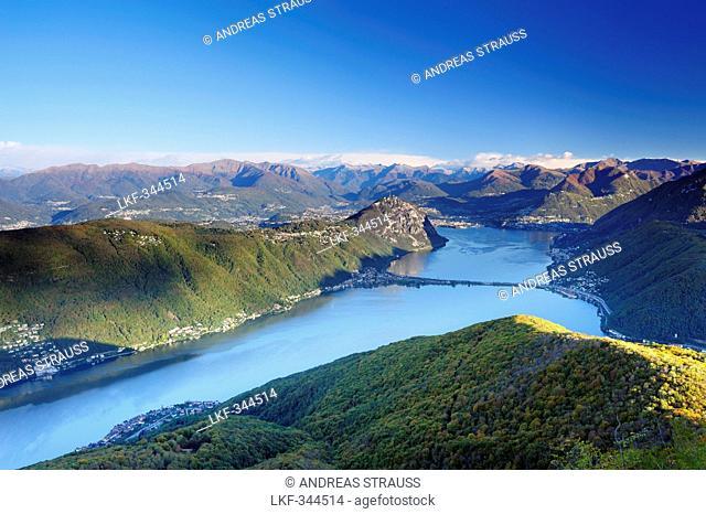Lake Lugano with Ticino range in background, Monte San Giorgio, UNESCO World Heritage Site Monte San Giorgio, lake Lugano, Ticino range, Ticino, Switzerland