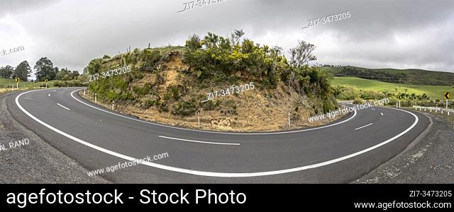 road 25 hairpin turn in green hilly countryside landscape, shot in bright late spring light near Waihi, North Island, New Zealand