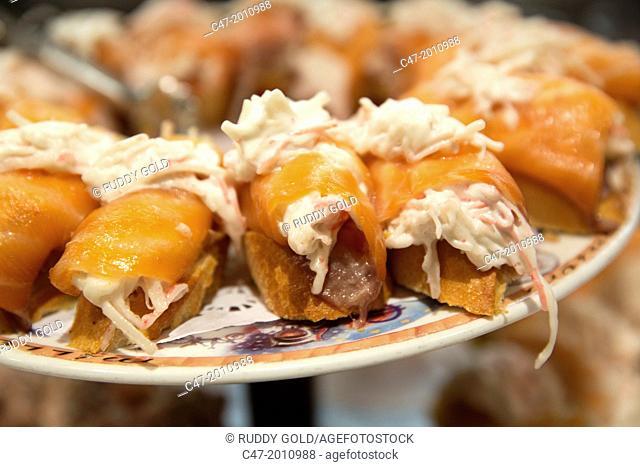Salmon and crab, Pintxos, San Sebastian (Donostia), Basque Country, Spain