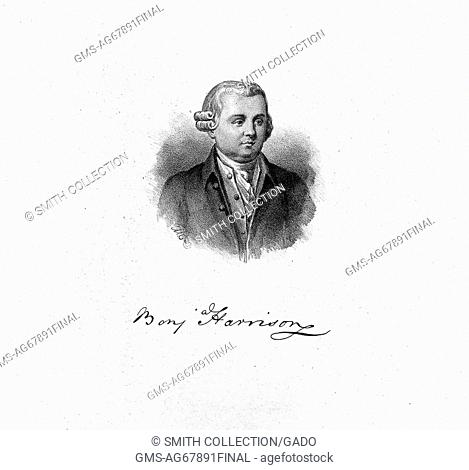 An engraving from a portrait of Benjamin Harrison V, he was the fifth Governor of Virginia and a Founding Father of the United States